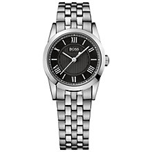 Buy BOSS 21502282 Men's Black Round Dial Steel Bracelet Watch, Silver Online at johnlewis.com