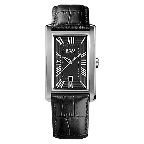 Buy Hugo Boss Men's Rectangular Leather Strap Watch Online at johnlewis.com