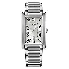 Buy Hugo Boss Men's Rectangular Stainless Steel Bracelet Watch Online at johnlewis.com