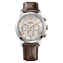 Buy Hugo Boss 21512728 Men's Chronograph Leather Watch, Brown Online at johnlewis.com