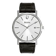 Buy Bulova 96B104 Men's Stainless Steel Leather Strap Watch, Black Online at johnlewis.com