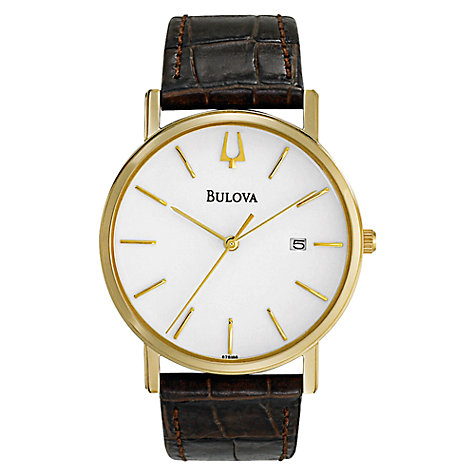 Buy Bulova 97B100 Men's Slim White Dial Leather Strap Watch, Brown Online at johnlewis.com