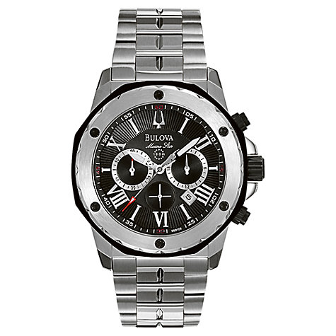 Buy Bulova 98B106 Men's Marine Star Chronograph Bracelet Watch, Silver Online at johnlewis.com
