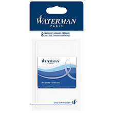 Buy Waterman Standard Ink Cartridges, Blue, Pack of 8 Online at johnlewis.com