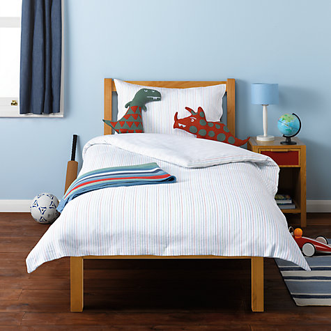 Buy little home at John Lewis Dinotastic Pyjama Stripes Flannelette Single Duvet Cover, Pillowcase and Sheet Set, Multi Online at johnlewis.com