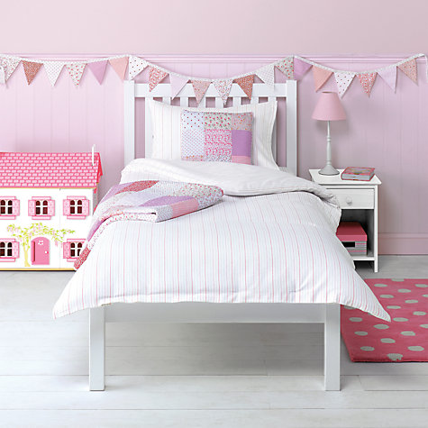 Buy little home at John Lewis Pyjama Stripes Flannelette Single Duvet Cover and Pillowcase Set, Pink Online at johnlewis.com