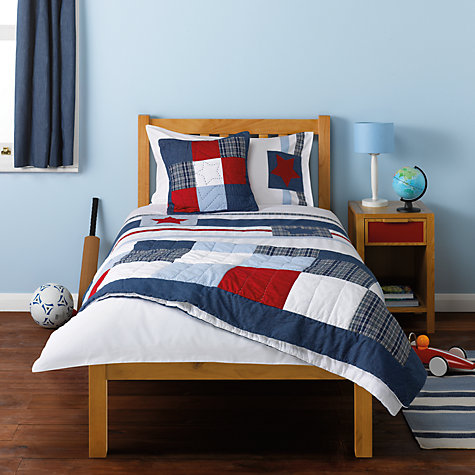 Buy littlle home at John Lewis Stars & Stripes Single Duvet Cover and Pillowcase Set, Blue Multi Online at johnlewis.com