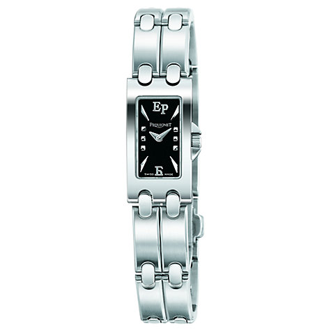 Buy Pequignet 3600443 Women's Moorea Baguette Steel Bracelet Watch, Black/Silver Online at johnlewis.com