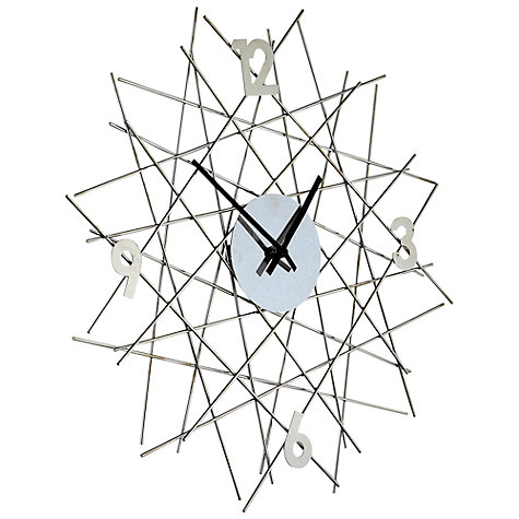 Buy John Lewis Star Clock, Dia.45cm, Silver Online at johnlewis.com