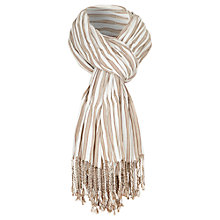 Buy Viyella Rouched Stripe Scarf, Tobacco Online at johnlewis.com