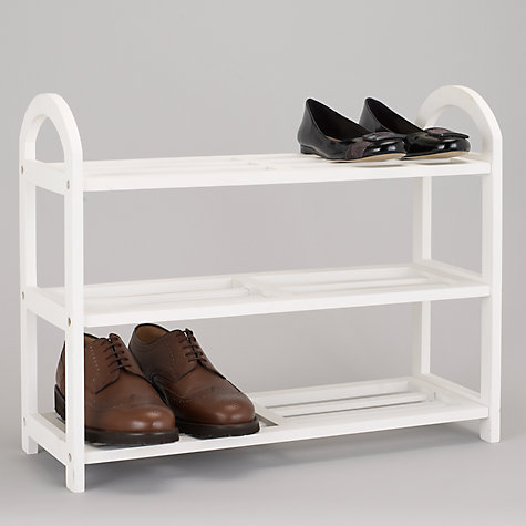 Buy John Lewis 3 Tier Wooden Shoe Rack, White Online at johnlewis.com