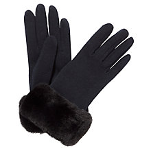 Buy John Lewis Fur Trim Thermal Jersey Gloves Online at johnlewis.com