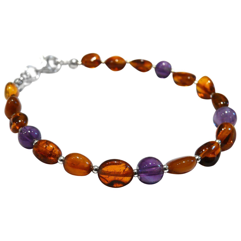 Goldmajor Amber, Amethyst and Silver Bracelet