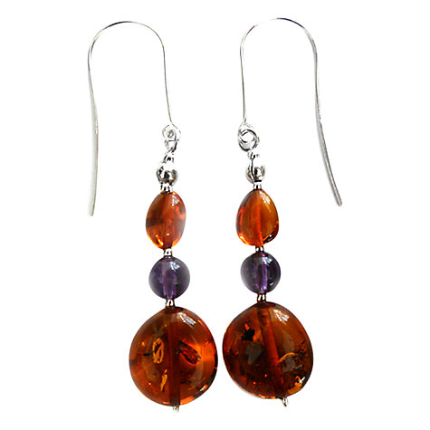 Buy Goldmajor Amber, Amethyst and Silver Drop Earrings Online at johnlewis.com