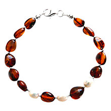 Buy Goldmajor Amber, Pearl and Silver Beaded Bracelet Online at johnlewis.com