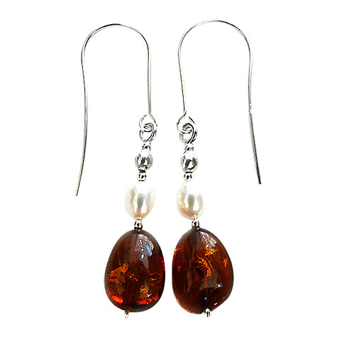 Buy Goldmajor Amber, Pearl and Silver Drop Earrings Online at johnlewis.com