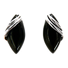 Buy Goldmajor Jet Silver Marquise Earrings, Black Online at johnlewis.com