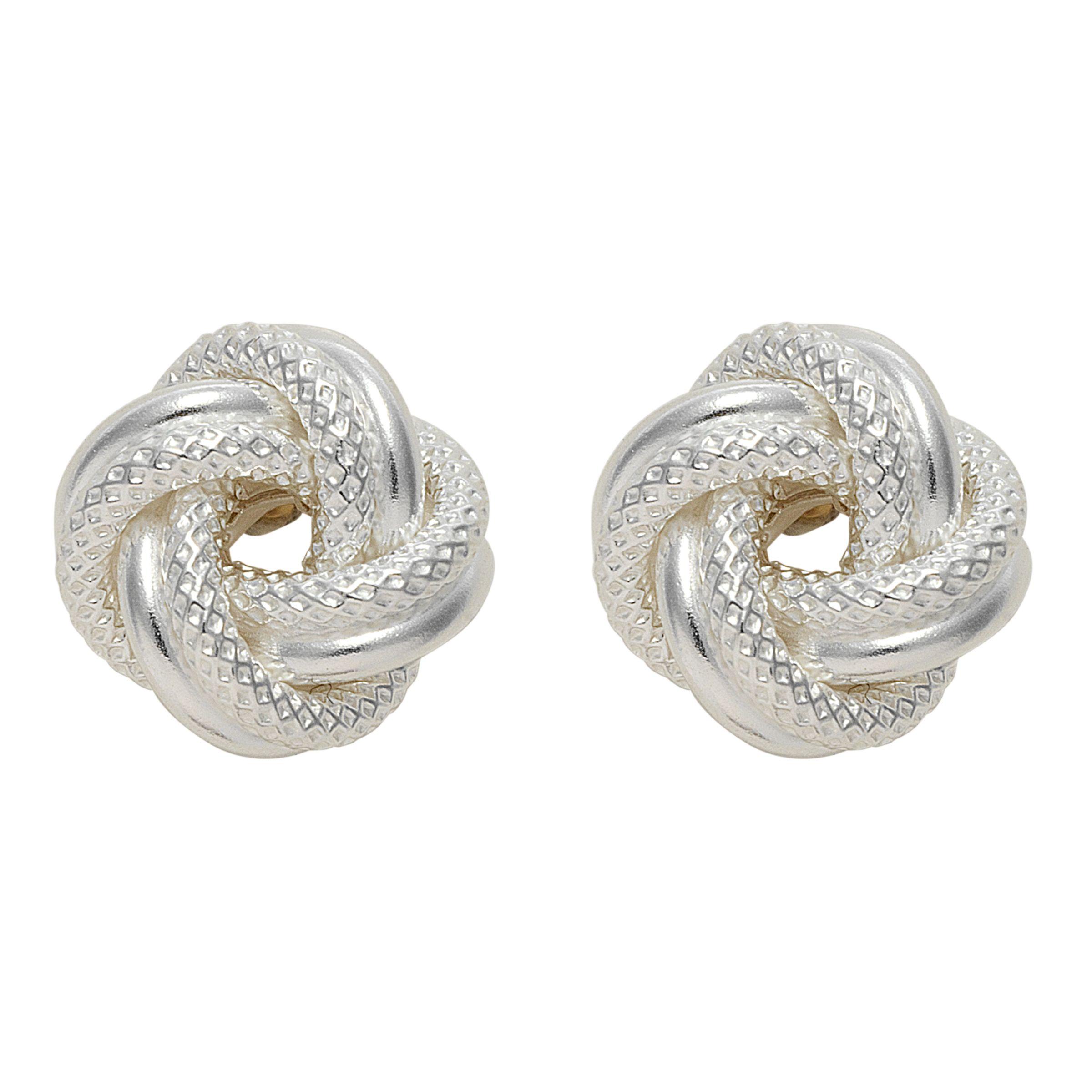 Nina Breddal Silver Knot Twist Earrings, Silver