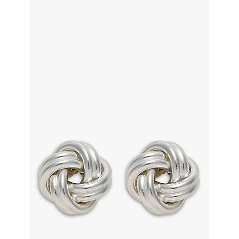 Buy Nina Breddal Small Silver Knot Earrings, Silver Online at johnlewis.com