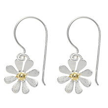 Buy Nina Breddal Silver Flower Hook Earrings, Silver Online at johnlewis.com
