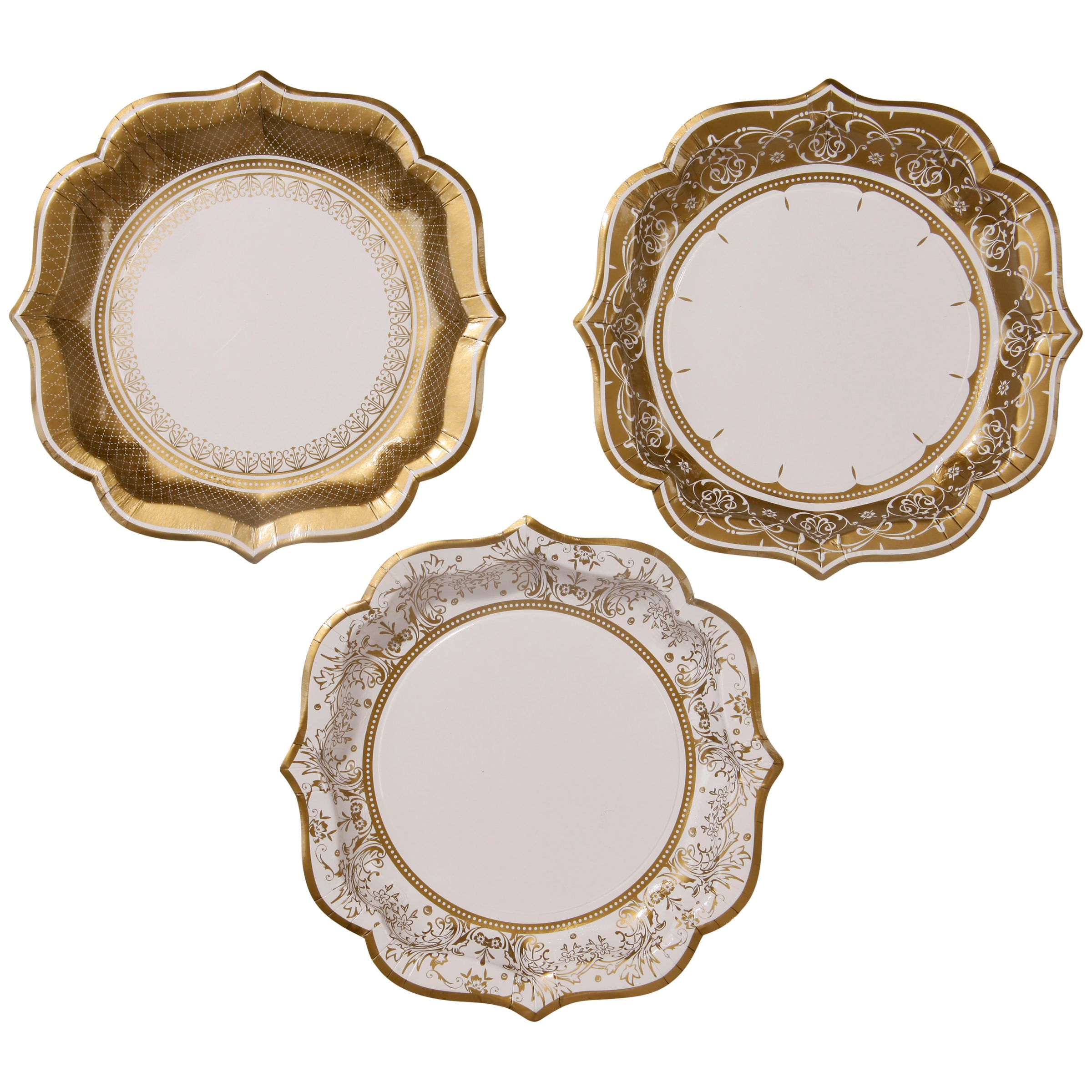Talking Tables Party Porcelain Paper Plates, Pack of 12 , Gold