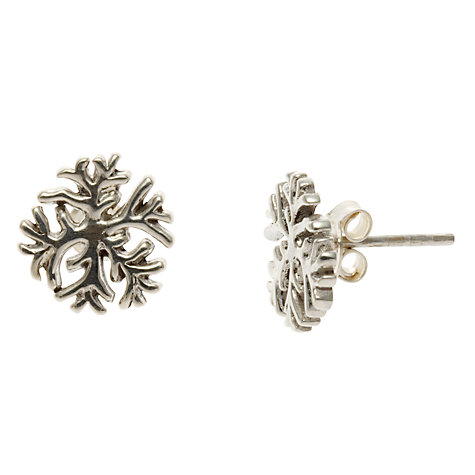 Buy Nina Breddal Snowflake Stud Earrings, Silver Online at johnlewis.com