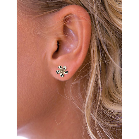 Buy Nina Breddal 9ct Yellow Gold Flower Stud Earrings, Gold Online at johnlewis.com