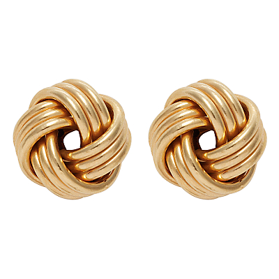 Nina B 9ct Yellow Gold Knot Earrings, Gold
