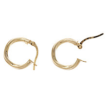 Buy Nina Breddal 9ct Yellow Gold Twisted Hoop Earrings, Gold Online at johnlewis.com