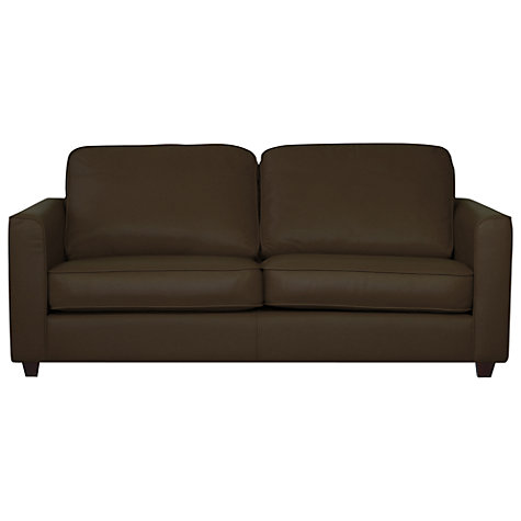 Buy John Lewis Portia Medium Madras Leather Sofa Bed, Earth Brown Online at johnlewis.com