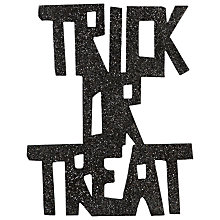 Buy John Lewis Glitter Trick Or Treat Sign, Black Online at johnlewis.com
