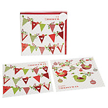 Buy John Lewis Vintage Bunting And Birds Duo Charity Christmas Cards, Box of 10 Online at johnlewis.com