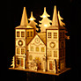 John Lewis Battery Operated LED Wooden Double Spire Church, Natural
