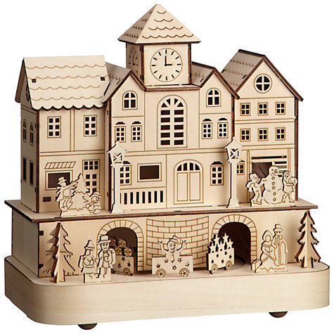 Buy John Lewis Battery Operated LED Wooden Train Station, Natural Online at johnlewis.com