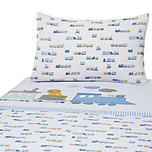 Buy John Lewis Applique Train Cotbed Duvet Cover and Pillow Set, Blue Online at johnlewis.com