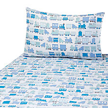 Buy John Lewis Printed Train Duvet Cover and Pillow Set, Blue Online at johnlewis.com