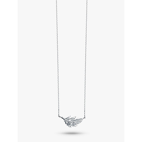 Buy Estella Bartlett Silver Feather Necklace, Silver Online at johnlewis.com