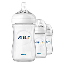 Buy Philips Avent Natural Bottles, Pack of 3, 260ml Online at johnlewis.com