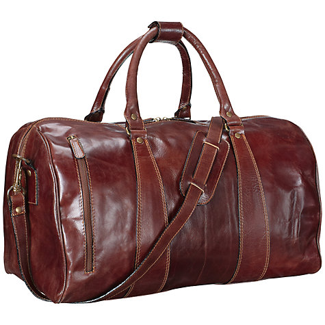 Buy John Lewis Firenze Leather Travel Holdall, Mid Brown, Medium Online at johnlewis.com