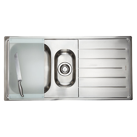 Buy John Lewis 1.5 Sink with Left Hand Bowl, Stainless Steel Online at johnlewis.com