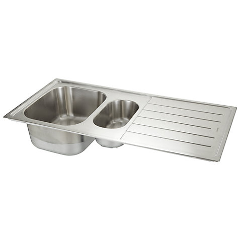 ... Sink with Left Hand Bowl, Stainless Steel Online at johnlewis.com