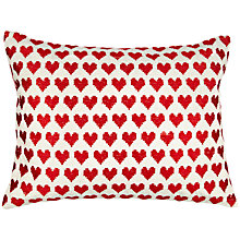 Buy John Lewis Christmas Hearts Cushion, Red Online at johnlewis.com