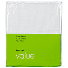 Buy John Lewis The Basics Cotton Pram Blanket, White Online at johnlewis.com