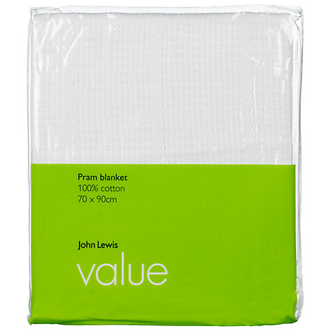 Buy John Lewis Cotton Pram Blanket, White Online at johnlewis.com