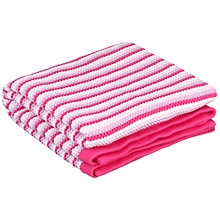 Buy John Lewis Striped Knitted Pram Blanket, Pink Online at johnlewis.com
