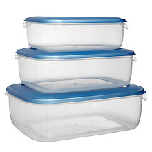 Buy John Lewis Value Rectangle Storage Containers, Set of 3 Online at johnlewis.com