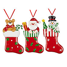 Buy John Lewis Christmas Stocking Decoration, Assorted Online at johnlewis.com