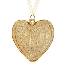 Buy John Lewis Antique Glass Heart Decoration, Champagne Online at johnlewis.com