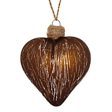Buy John Lewis Textured Heart Glass Decoration, Brown Online at johnlewis.com