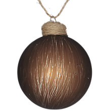 Buy John Lewis Textured Glass Bauble, Brown Online at johnlewis.com